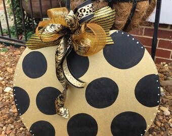 Black and Gold Pumpkin Door Hanger