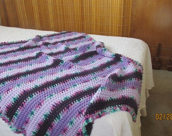 Wide Double Crochet, baby blanket, purple, soft acrylic, large stroller afghan,graduated purple,