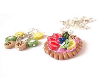 Miniature Food Jewelry Set ( necklace pendant earrings strawberry kiwi banana funny jewelry colorful girl )