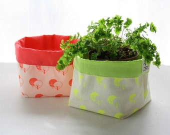 Fabric basket hand printed - Fabric storage  bucket printed in neon - Coral or yellow organizer bin