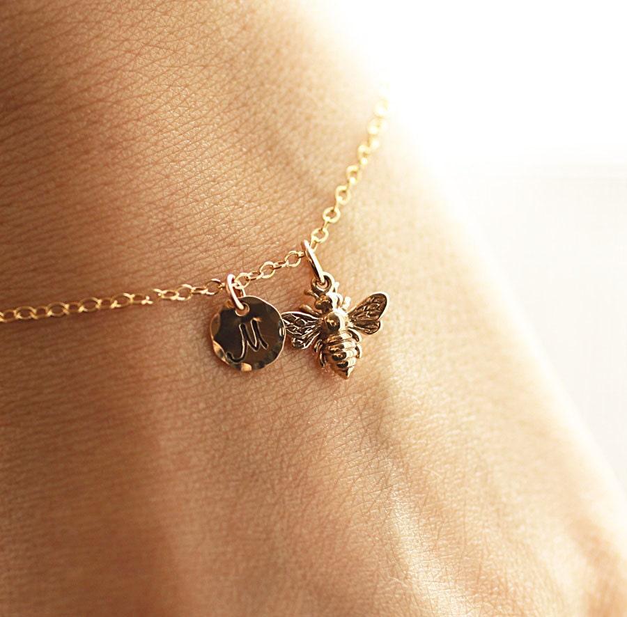 Initial Charms For Bracelets: Gold Initial Charm Bracelet Honey Bee Bracelet Custom