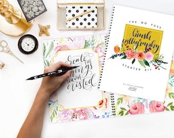 Brush Calligraphy Starter Kit, Printable Wisdom; learn No Fuss Calligraphy kit how to calligraphy instruction book calligraphy brush pen