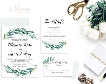 Printable Wedding Invitation Suite / Wedding Invite Set - The Monica Rose Suite