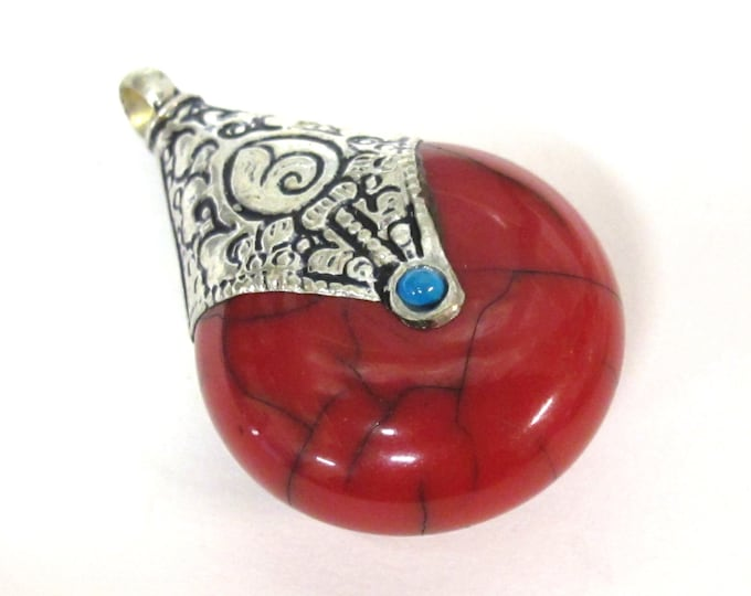 1 pendant - Tibetan silver  red crackle resin reversible pendant with lotus carved design on bail - PM537