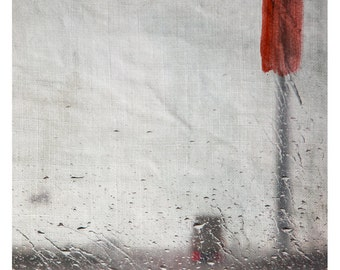 Pluie (Landscape Photography - Fine Art Print - Road - Rain - Abstract - Painting - Red - Grey)