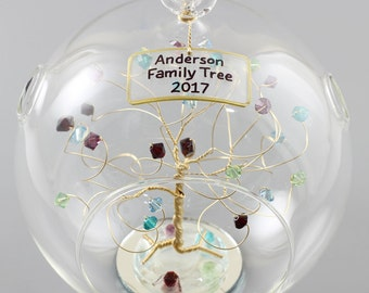 Family Gift Birthstone Ornament Family Ornament Personalized Christmas Ornament with Custom Birthstones in Swarovski Crystal Elements