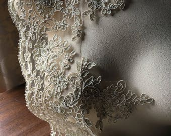 GOLD Champagne Lace Alencon Bridal Lace Scalloped for Bridal Gowns, Veils, Costumes AL 9
