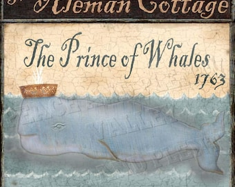 Whale Nautical Royal Pub Sign Folk Art * Aleman Personalized Chose it as a Print, or as Print Mounted to Wood or as InstantDigitalDownload