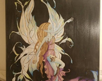 Witching Hour Gothic Faerie  Wall Art | Handpainted | Pyrography