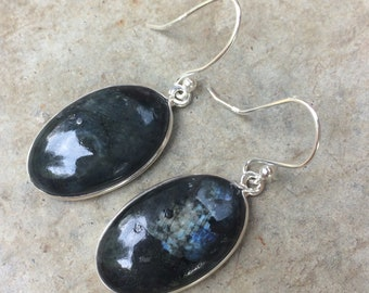 Earrings black Larvikite (black Moonstone) and 925 sterling silver. Larvikite (black moonstone), 925 sterling silver earrings