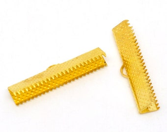 Crimp End, Gold Plated Crimp End, 30 mm x 7.5 mm Crimp, 10 count (CE-30x7.5-G)