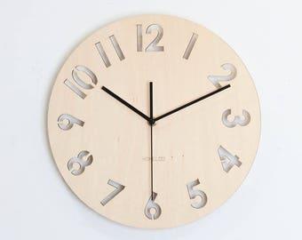 "12"" Wooden Wall Clock -  Modern Numeral"