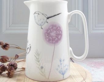 Dandelion and Bird Jug - Bird Kitchenware - Bird Homeware -Long tailed-tit Jug - Dandelion and Bird Vase - Kitchen Table Vase - Gift For Her