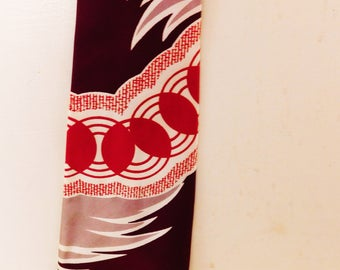 "1950's-60's, Vintage SIlk Necktie, Ingalls, ""Tie The Nation"" , Maroon/Red/White, 4 1/2"" Wide"