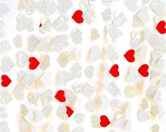 Wedding paper garland, red vintage wedding shower decor, book paper hearts wedding garland, unique wedding backdrop, party photo prop