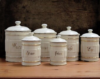 Set of 6 French enamel canisters set box kitchenware, Enamel Canisters with Gold Lettering  - Paris Flea Market - Shabby Farmhouse