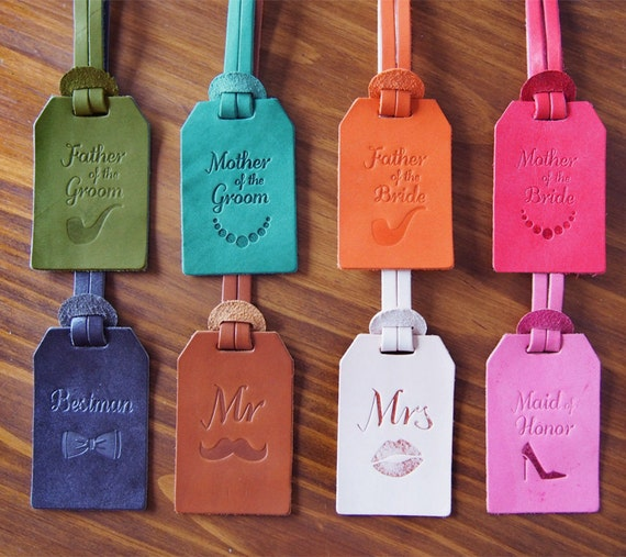 Personalized Wedding Favors Custom Leather Luggage Tags