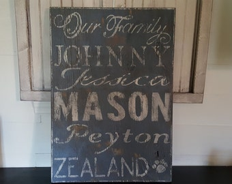 Distressed Family name subway style sign/name sign