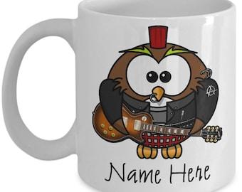 Custom Gift for Musician Custom Gift for Men, Mug Guitarist Gift Custom Name Mug for Rocker, Personalized Musician Gift Owl Lover Mug
