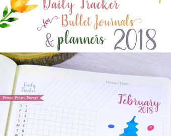 2018 Daily Tracker for Bullet Journals & Planners, Habit Tracker, 2018 Calendar, Daily Planner, Bujo, Bullet Journal Pages, INSTANT DOWNLOAD