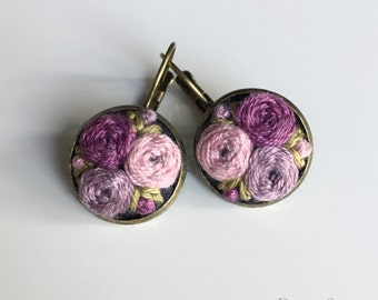 Hand embroidered Pretty Purple Peony Bouquet earrings