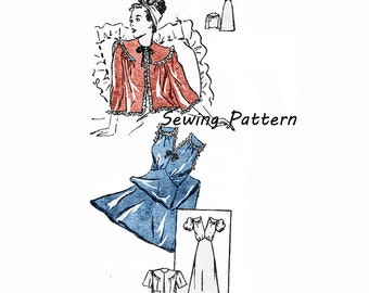 1940's Marian Martin 9442 Lingerie Nightgown and Three-Quarter Sleeve Bed Jacket Size 12    Bust 30in /76cm    Vintage Sewing Pattern