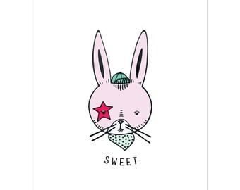 Sweet Bunny Art Print Nursery Decor