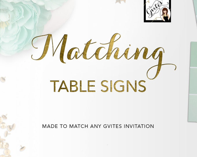 Matching Table Signs Decorations Add-on - To Coordinate with any Gvites invitation design {Size(s) Available: 6x4, 7x5, 10x8}