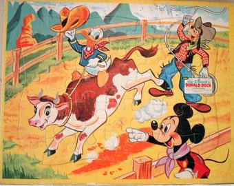 Vintage Donald Duck Puzzle, Walt Disney Productions, Jaymar Tray Puzzle  (273-10)