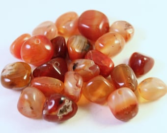 Genuine Dyed Red Orange Agate Beads, Medium Tumbled Nugget, Wholesale Loose Beads