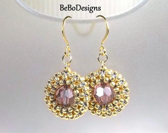 Swarovski Crystal Blush Rose Earrings/Cubic Right Angle Weave/Seed Bead Earrings