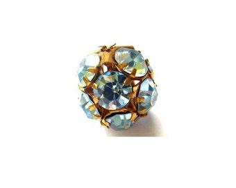 Swarovski crystal ball bead 15mm antique vintage light blue rhinestones in brass setting- RARE