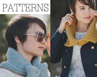 TWO KNITTING PATTERNS Scarf Kerchief Cowl Collection