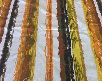 "Vintage 50s Eames Era Atomic Abstract  Barkcloth Fabric Orange Brown Abstract Stripes 56"" x 50"""