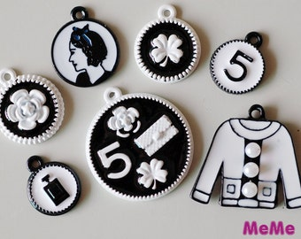 1 Set 7 Pcs Charms Alloy Medallion Ladies Clothes Kawaii Bracelets Pendants Studs Cabochon Deco Den Phone Case DIY Deco kit PP038