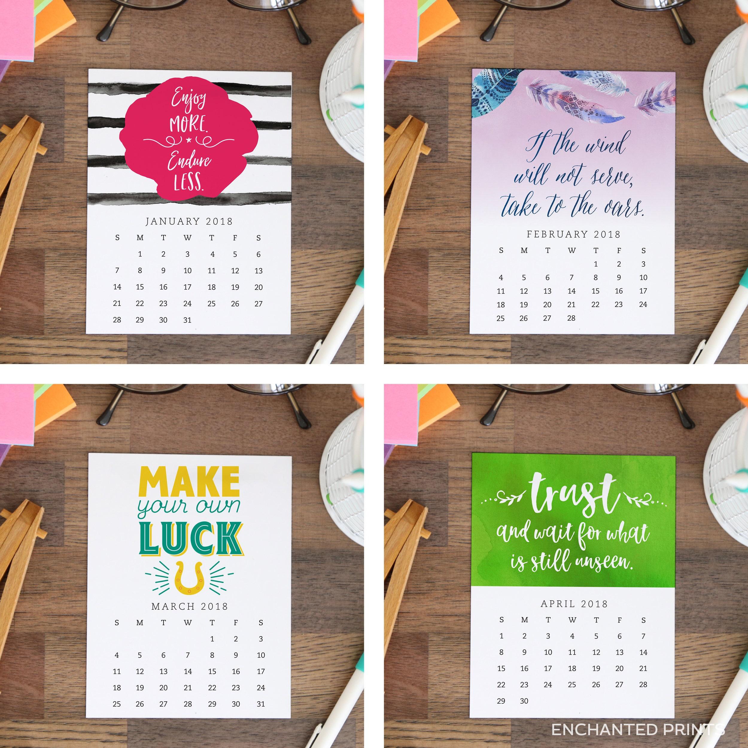 Printable 2018 Desk Calendar 12 month Inspirational and