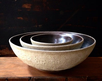 MADE TO ORDER- set of 3 stoneware nesting bowls by sara paloma. Modern white ceramic serve ware  pottery ceramics salad bowl wedding gift