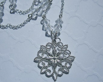Silver Starflower 925 Sterling Silver Charm Reversible Necklace