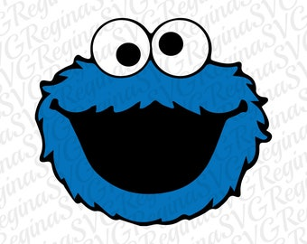 Cookie Monster Svg, Cookie monster Dxf, Eps & Png Cut files, files for Cricut, Silhouette cameo, Cookie monster face Svg, Clipart, Instant