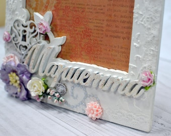 Personalized photo frames, Shabby picture frame, Wedding frame,  Shabby chic frame, Photo frame, Baby frames for grandparents