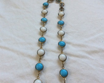 Vintage Blue N White Beaded Opera Length Necklace FREE SHIPPING
