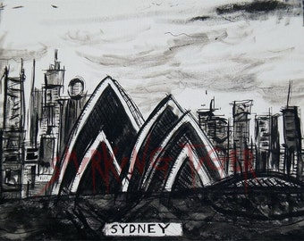 Sydney Cityscape: Art Print of the Sydney Skyline featuring the Sydney Opera House, 11X14