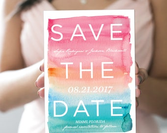 Ombre Watercolor Save the Date - Tropical Wedding - Destination Wedding - Modern and Contemporary