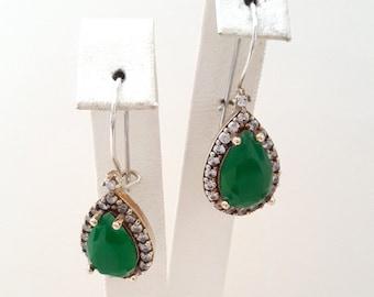 Sterling Silver Earrings, Silver Earrings ,Rose silver Earrings ,Emerald Earrings ,Zircon Earrings,Drop Shaped Earrings