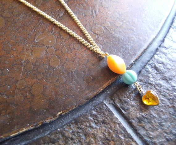 Sunny Heart Lucite Czech Glass Gold Tone necklace