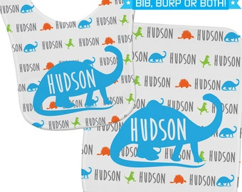 Newborn Boy Gift, Dinosaur Baby Shower Gift, Dinosaur Baby Bib, Custom Bib, Custom Burp Cloth, Baby Boy Gift Idea