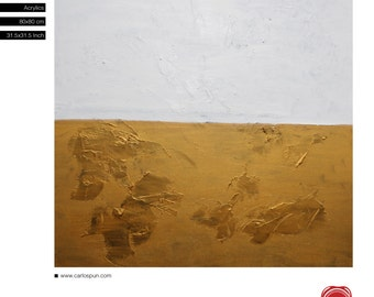 """Gold Landscape, FRee SHipping, Modern Abstract Painting, Acrylic, 31.5""""x 31.5"""" inches (80x80cm), Original Painting, Carlos Pun Art"""