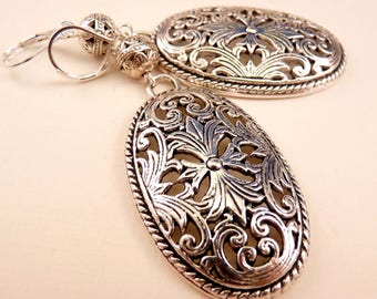 Silver Earrings Metal Earrings Beaded Earrings Beaded Jewelry  Silver Jewelry Metal Jewelry Filigree Jewelry Filigree Earrings