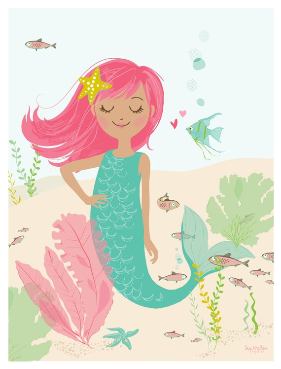 MERMAID wall art girl's room wall art bathroom artwork
