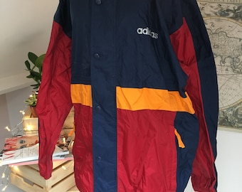Men's vintage Adidas yellow, red and blue rain jacket